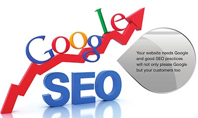 Google logo with upward chart arrow over SEO text